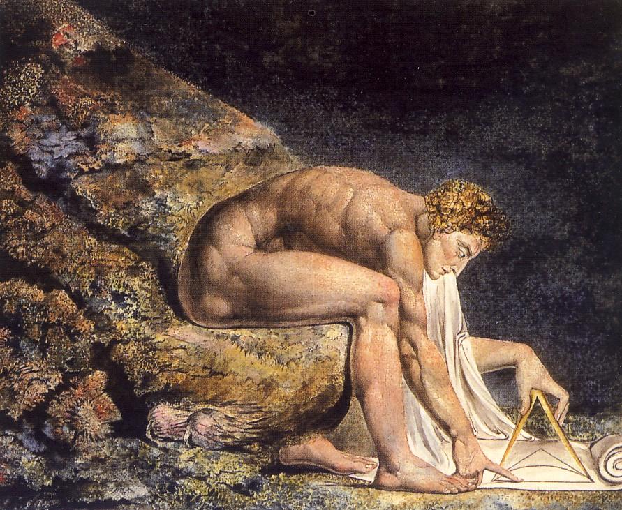 W. BLAKE, Isaac Newton, 1795 - 1805, acquerello e inchiostro, cm 46 x 60, Londra, Tate Gallery