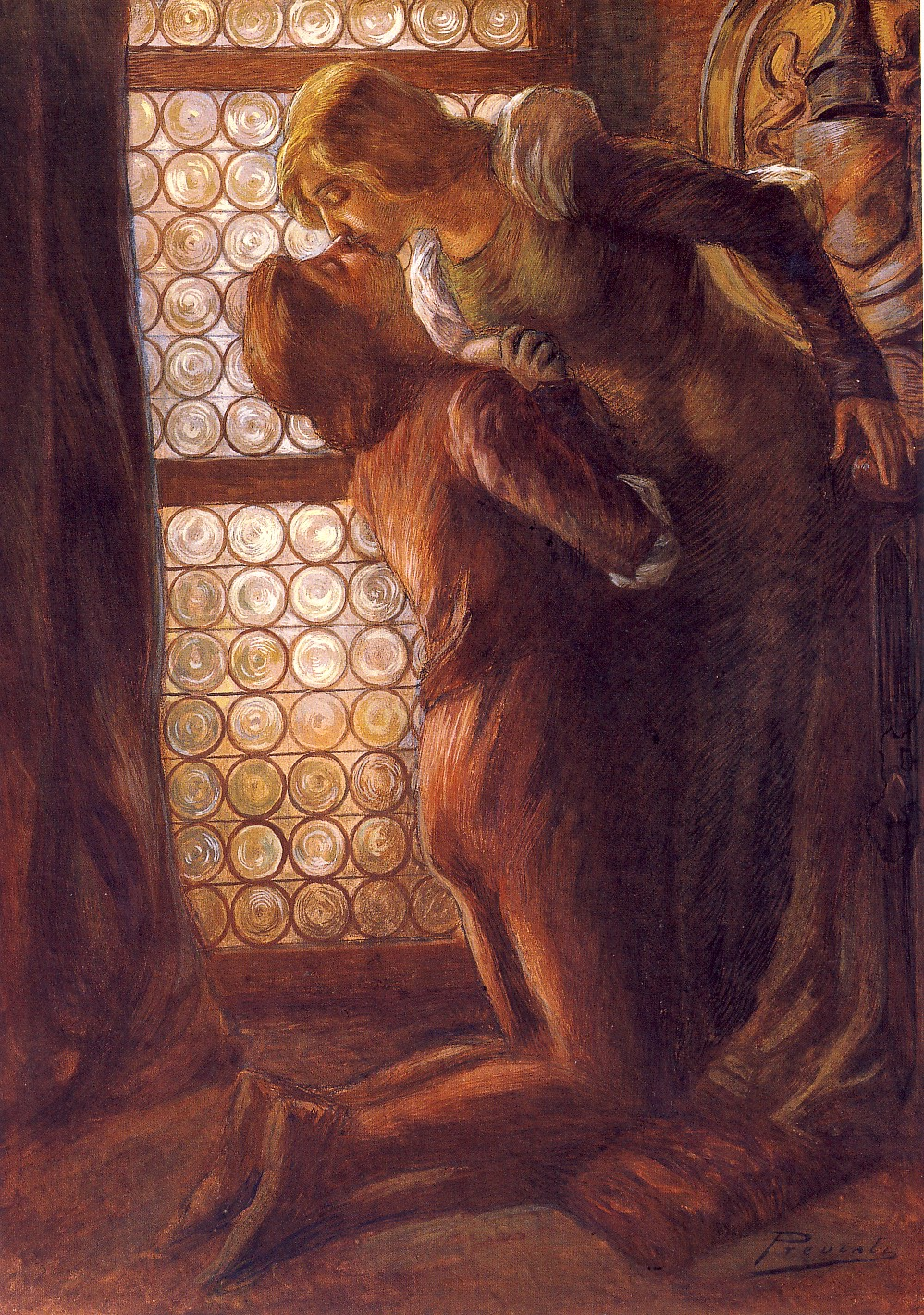 G. PREVIATI, Il bacio, 1889-1890 ca., tempera su cartoncino, cm 63,5 x 44, Milano, collezione privata