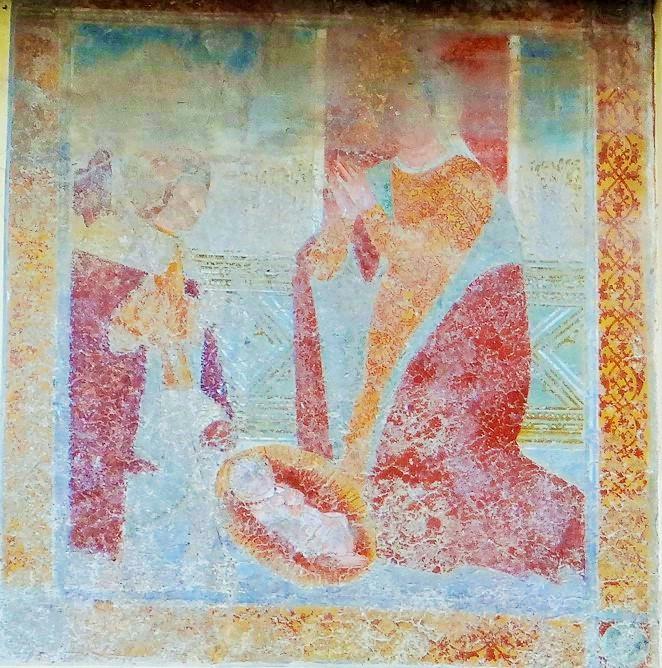 Natività con cardinale in adorazione, affresco, esterno della'oratorio di Ronco di Gussago (Bs)