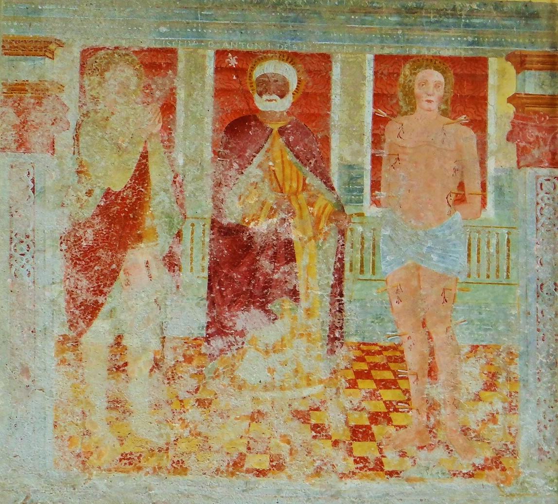 Santi Rocco, Zenone e Sebastiano, affresco, inizio secolo XV (1426?),  Ronco di Gussago, facciata dell'oratorio dei santi Sebastiano e Fabiano, Ronco di Gussago Brescia