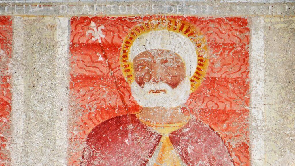San, Zenone, affresco, inizio secolo XV (1426?),  Ronco di Gussago, facciata dell'oratorio dei santi Sebastiano e Fabiano, Ronco di Gussago, Brescia