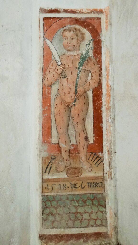 Pittore bresciano, Beato Simonino, 1518, affresco, Provaglio d'Iseo, (Brescia). Monasttero di San Pietro in Lamosa