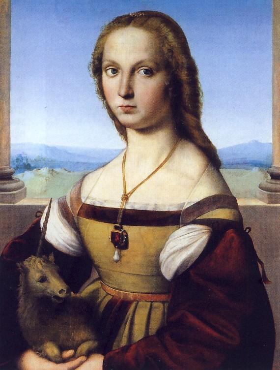 RAFFAELLO, Ritratto di giovane donna (Dama col Liocorno), 1505-1506, olio su tavola, cm 65 x 51, Roma, Galleria Borghese