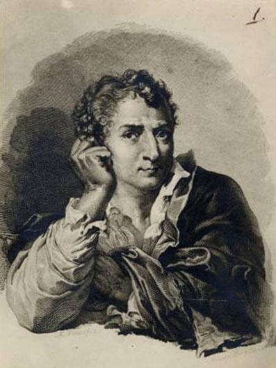 Autoritratto del pittore Mauro Gandolfi all'età di cinquanta anni. In collezione privata si conserva il disegno preparatorio per questa incisione