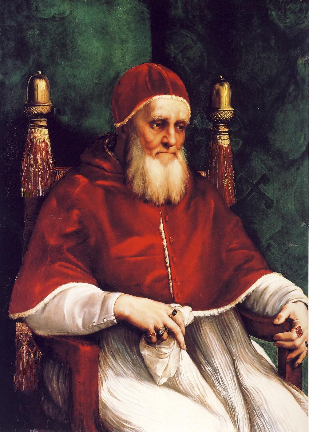 """RAFFAELLO SANZIO, Ritratto di Giulio II, 1511-1512, olio su tavola, cm 108 x 80, Londra, National Gallery Giuliono della Rovere, nato ad Albisola Superiore il 5 dicembre 1443, morì il 21 febbraio 1513. Conosciuto come """"Il Papa guerriero"""", fu uno dei più grandi pontefici del Rinascimento."""