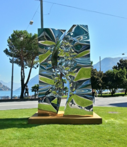 Helidon Xhixha, Mantegazza, September 2014, Mirror Polished Stainless Steel, 400 x 220 x 160 cm, Palazzo Mantegazza, Lugano, Paradiso