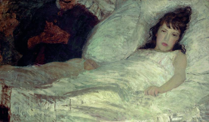 A.MORBELLI, Venduta, 1894, tempera su tela, cm.70 x120, Milano, Galleria Civica d'Arte Moderna