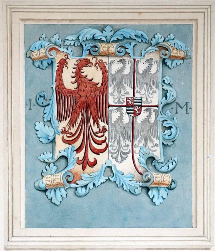 A. SALVETTI, Stemma con l'arme dei Martinengo e dei Gonzaga, 1881, acquerello e pastello su carta, cm. 36 x 52,5, firmato e datato in basso a destra: « A. Salvetti 1881»