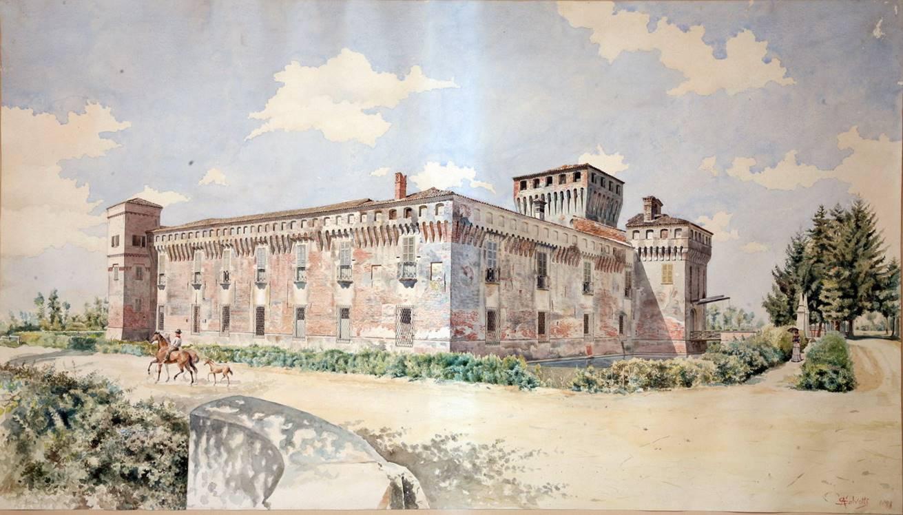 A. SALVETTI, Castello Salvadego di Padernello – Facciate Est e Nord, 1881, acquerello e pastello su carta, cm. 99 x 56, 5, firmato e datato in basso a destra: « A. Salvetti 1881»
