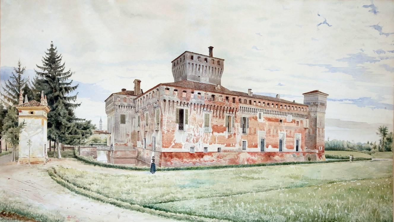A. SALVETTI, Castello Salvadego di Padernello – Facciate Nord e Ovest, 1881, acquerello e pastello su carta, cm. 99 x 56. 5, firmato e datato in basso a sinistra: « A. Salvetti 1881»
