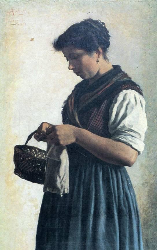 A. SALVETTI, La Mandriana lombarda, 1881, olio su tela, cm 45 x 112, firmato e datato in alto a sinistra «A.Salvetti 1881 Padernello», collezione privata