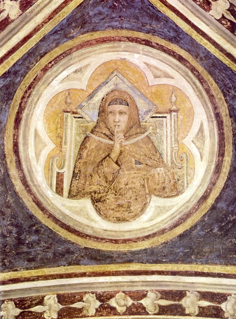Giotto, Allegoria dell'ubbidienza. In questo caso, l'allegoria non solo esprime un monito a misurare le parole proferite, ma può rappresentare anche la regola monastica del silenzio. Un religioso fa segno ai confratelli di rimanere muti ed essi debbono obbedire
