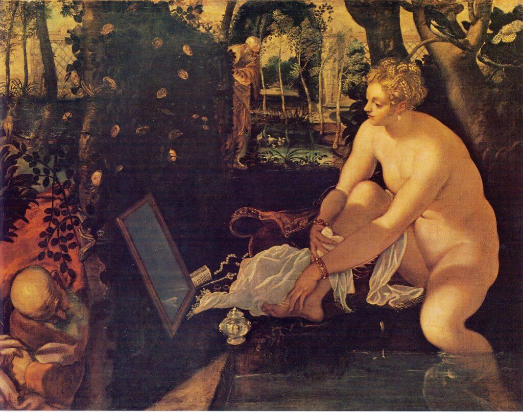 JACOPO ROBUSTI detto il TINTORETTO, Susanna e i vecchioni, 1555, olio su tela, cm 146.6 x 193,6, Vienna, Kunsthistorisches Museum