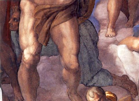 MICHELANGELO BUONARROTI, Giudizio universale, (part.), 1535-1541, affresco, m 13,7 x 12,2, Città del Vaticano, Cappella Sistina