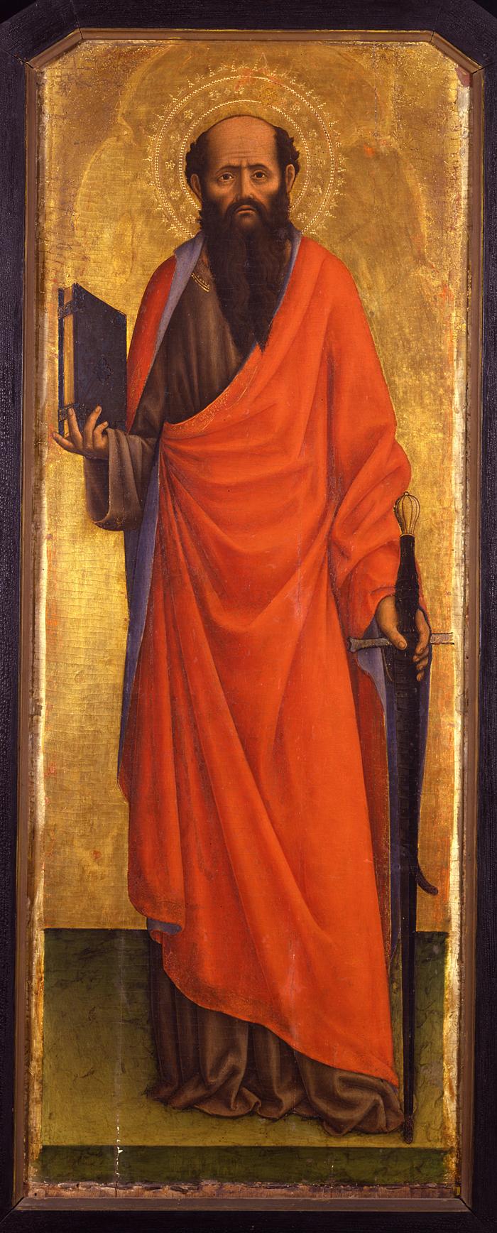 San Paolo raffigurato da Vivarini. Calvizie, spada e libro, i suoi principali attributi