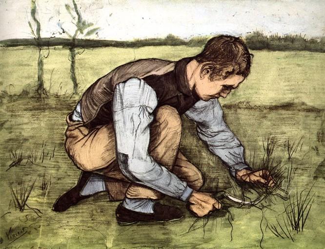 V.VAN GOGH, Ragazzo inginocchiato con falcetto, 1881, matita, carboncino e acquerello su carta, Kröller Müller Museum, Otterlo