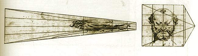 """Salomon de Caus, """"Anamorfosi di una testa"""", 1612"""