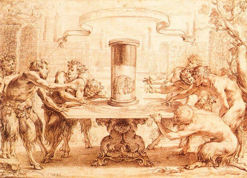 Simon Vouet, I satiri ammirano l'anamorfosi di un elefante. In questo caso siamo di fronte a un'anamorfosi circolare, com'è quella che ci appare nell'illustrazione precedente. Un cilindro specchiante hala funzione di fare sintesi dell'immagine e di riportarla alla forma naturale