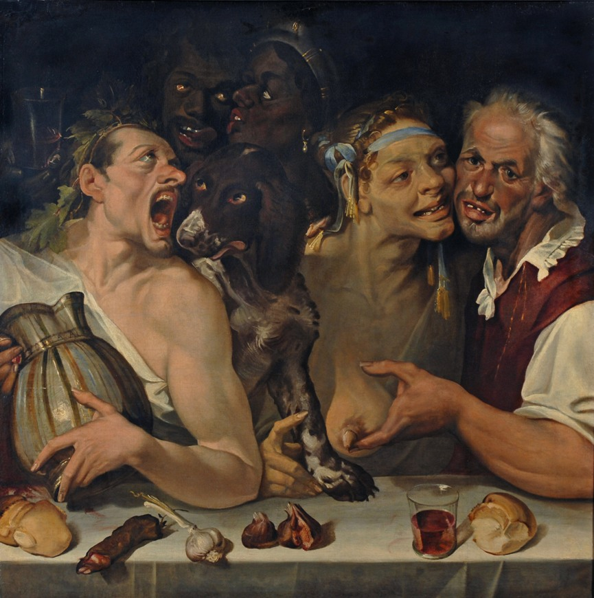 Bartolomeo Passarotti o Passerotti, I folli amanti,  1550 circa, olio su tela, 114x118 cm, collezione privata