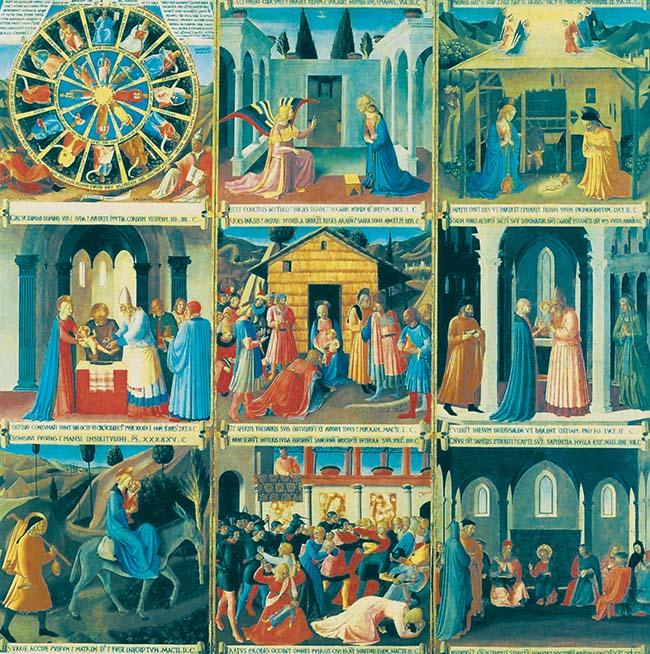 Armadio degli argenti, primo pannello (dei tre con le 32 formelle rimaste) con le scene della Vita di Cristo.