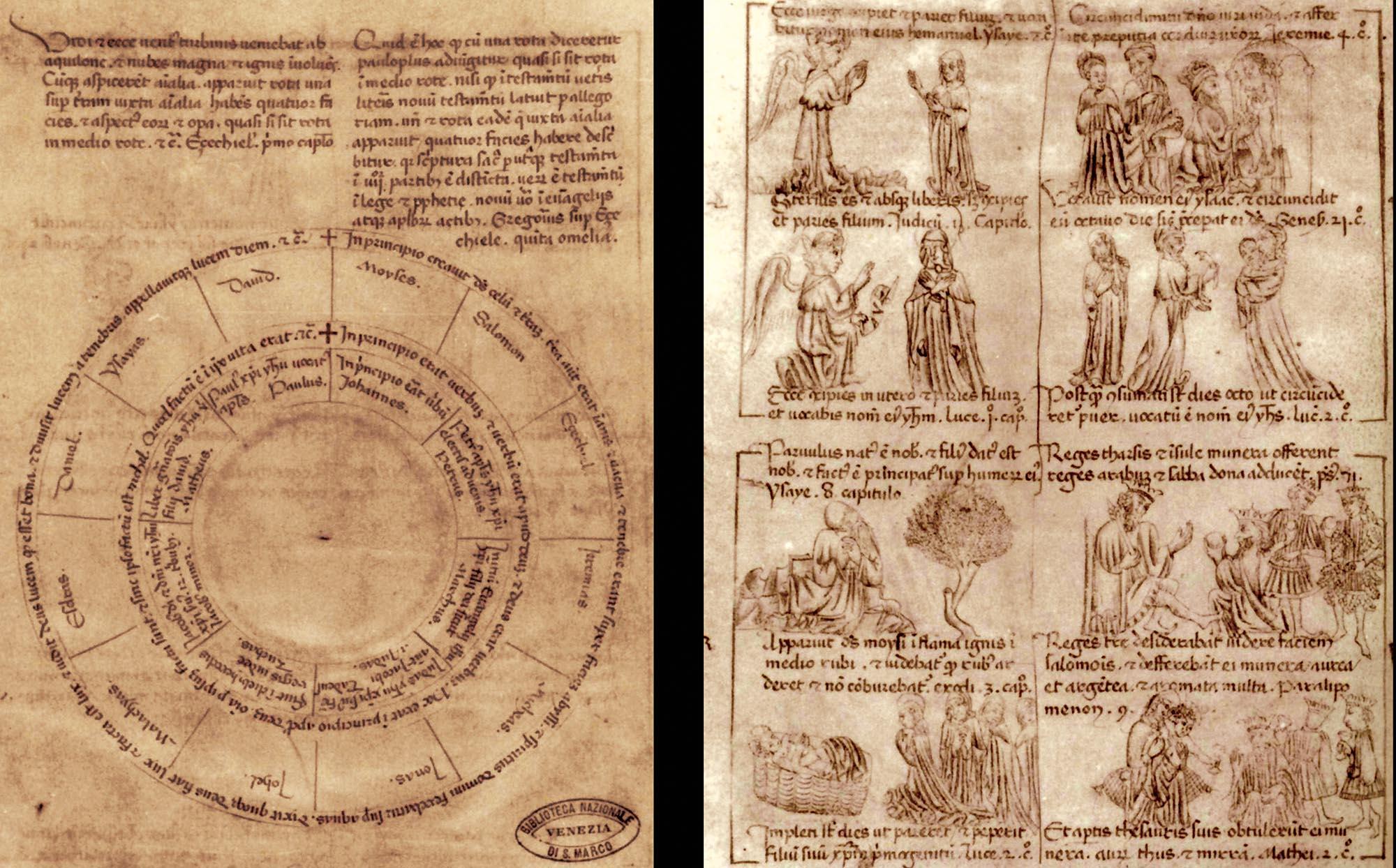 Il primo folio (recto e verso) del manoscritto della Biblioteca Marciana