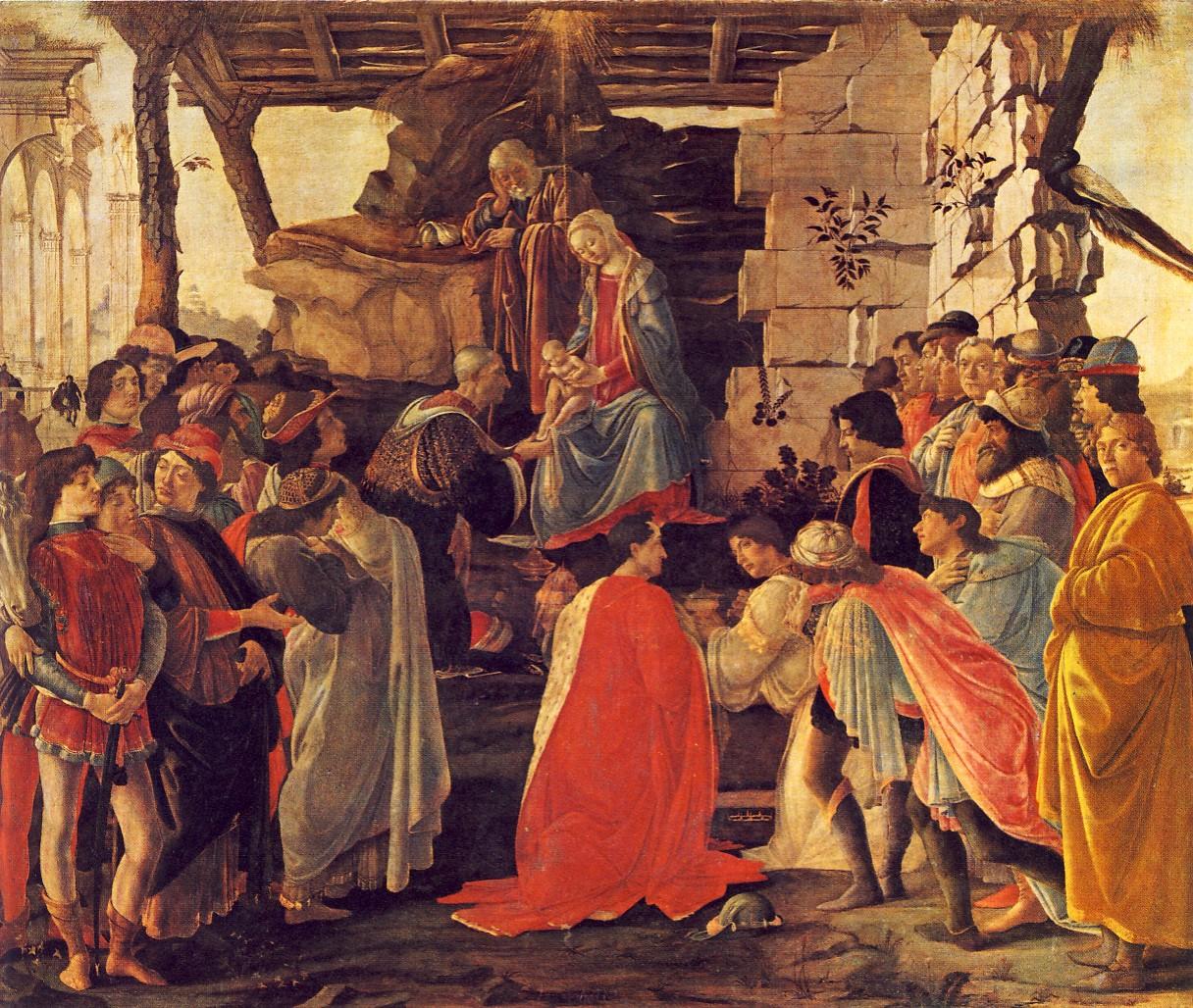 S.BOTTICELLI, L'Adorazione dei magi, 1475, tempera su tavola, cm.111 x 134, Firenze, Galleria degli Uffizi