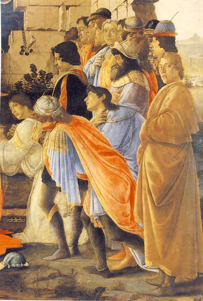 S.BOTTICELLI, L'Adorazione dei magi, particolare, 1475, tempera su tavola, cm.111 x 134, Firenze, Galleria degli Uffizi Il primo personaggio a destra sarebbe lo stesso Sandro Botticelli.
