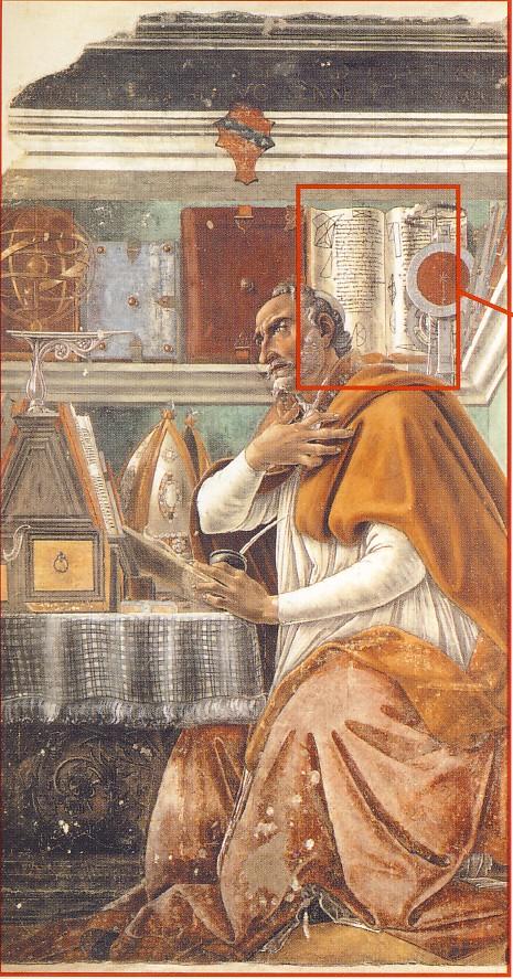 S.BOTTICELLI, Sant'Agostino nello studio, 1480, affresco, cm. 152 x 112, Firenze, Chiesa di Ognissanti