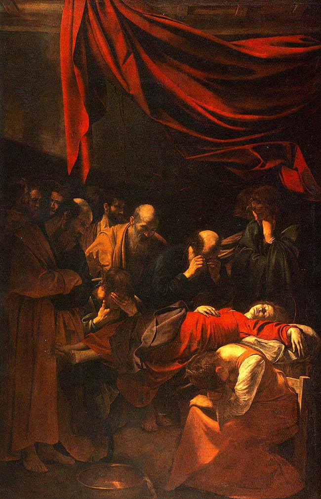 """Caravaggio,  """"La morte della Madonna"""".  Quest'opera, per l'estremo realismo, fu considerata diffamatoria nei confronti  della madre di Cristo"""