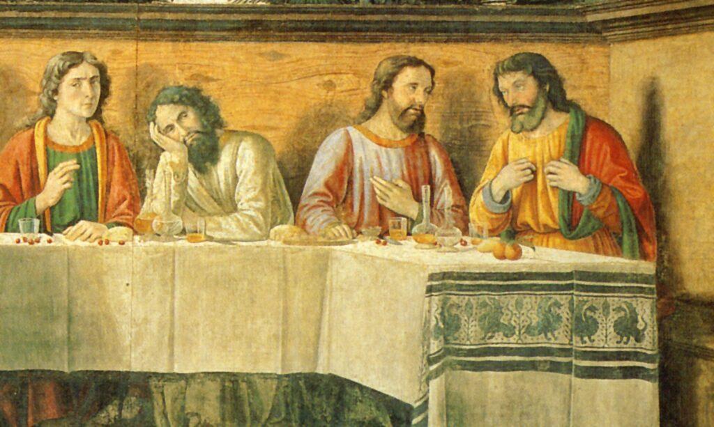 Domenico Ghirlandaio. Nell'Ultima Cena dipinta dall'artista fiorentino, sulla tovaglia sono disseminate a profusione rosse ciliegie, rosso preannuncio della Passione e intenso elemento decorativo