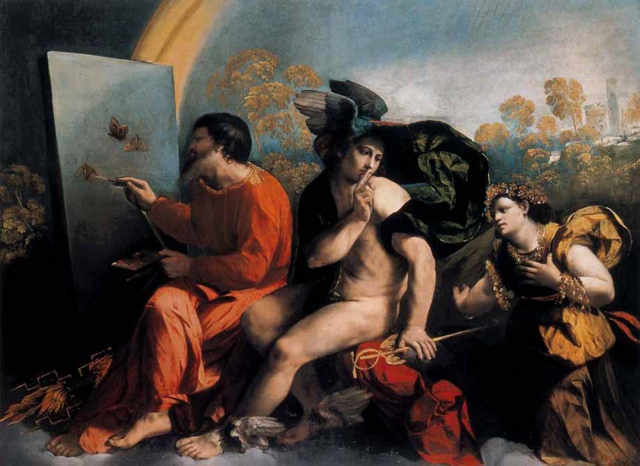 Dosso Dossi, Giove pittore di farfalle, Mercurio e la Virtù. Il quadro si riferisce a una dimensione alchemica. Mercurio-Hermes è centrale nell'alchimia e protegge, con il silenzio, la creazione di Giove alchimista