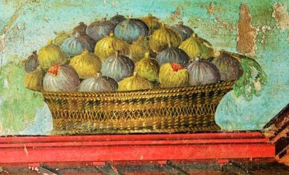 Cestino con fichi. Pittura parietale,Villa di Poppea. Oplontis, I sec.d.C. Torre Annunziata, Napoli.