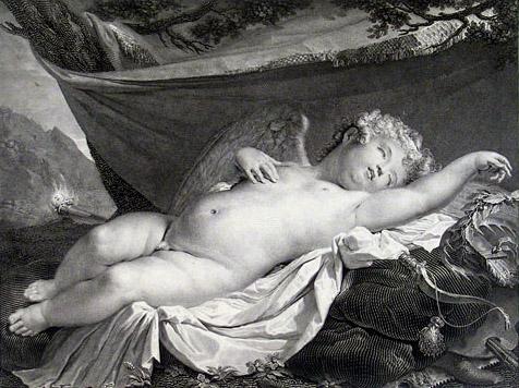 Mauro Gandolfi (Bologna, 1764 - ivi, 1834), Cupido dormiente, incisione, 1820