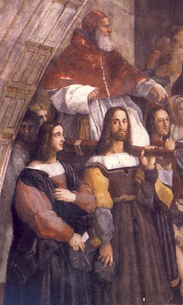 RAFFAELLO SANZIO e collaboratori, La cacciata di Eliodoro dal tempio, part. , Stanza di Eliodoro, 1511-1512, affresco, Città del Vaticano, Palazzi Vaticani