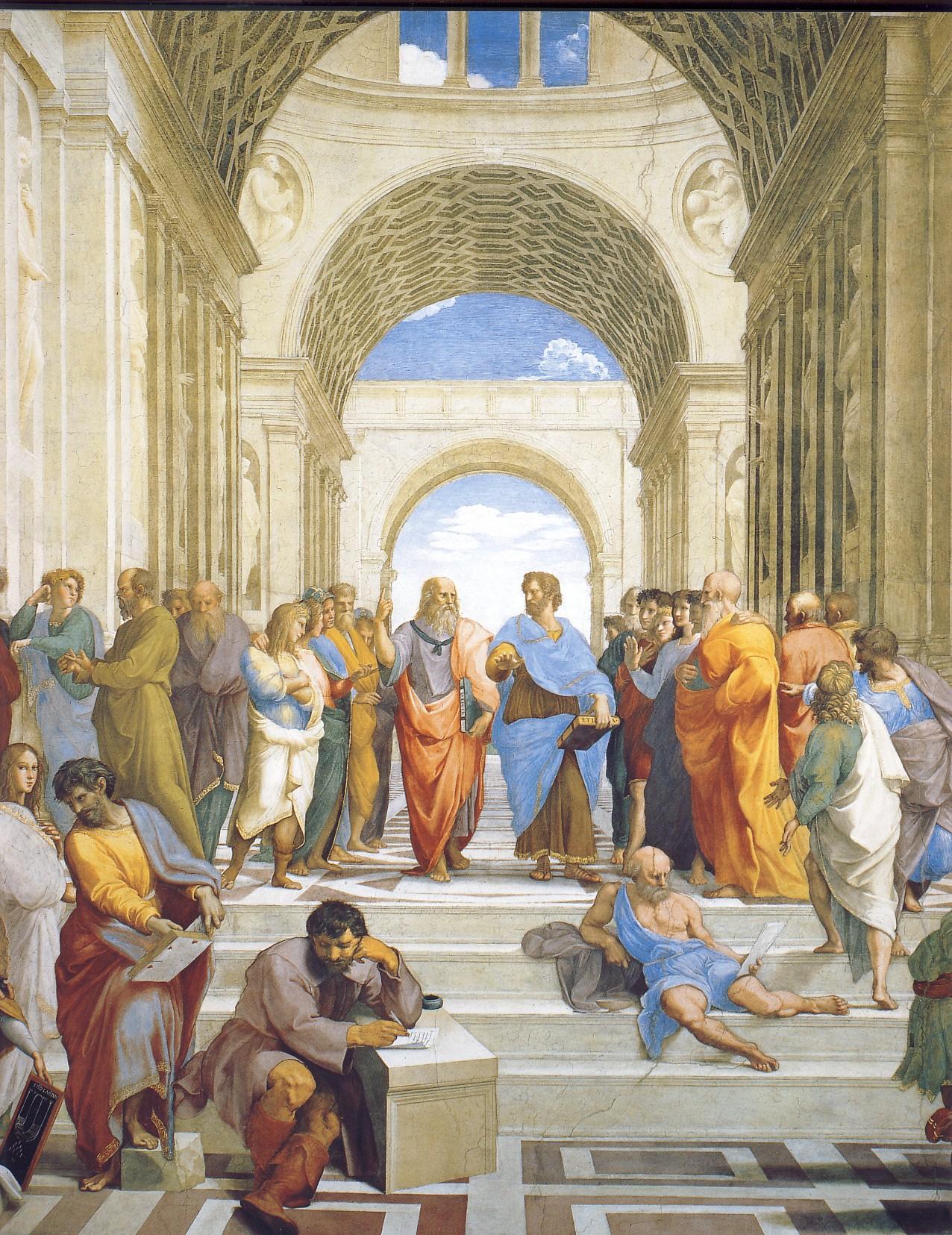 RAFFAELLO SANZIO, Scuola di Atene (particolare), 1510, affresco, base cm.770 ca., Stanza della Segnatura, Città del Vaticano, Palazzi Vaticani