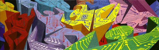 Roberto Bergonzo, Fiat information technology, olio su tela cm.100x32
