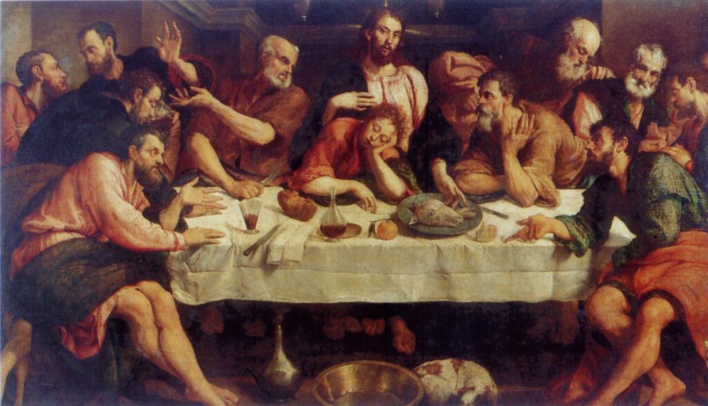 Jacopo Bassano. Nel piatto, è collocata una testa d'agnello