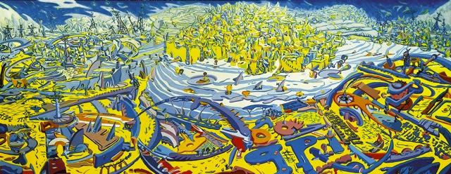 Roberto Bergonzo, Società Pres - L'asseedio, olio su tela cm.230x90
