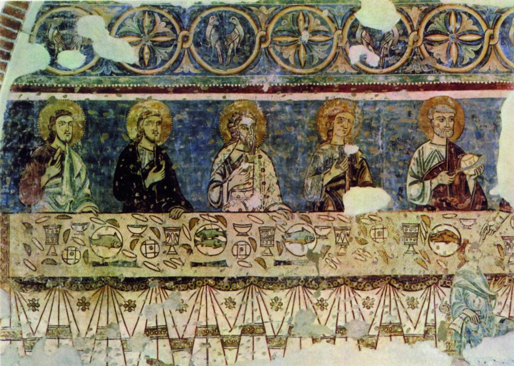 Maestro lombardo del XIII secolo. Anche qui il pesce la fa da protagonista, insieme al pane e al vino