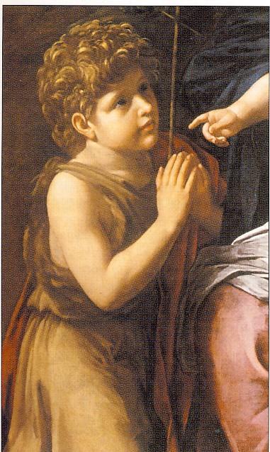 B.CAVAROZZI, Sacra famiglia con San Giovannino, part., 1620-1624,olio su tela, collezione privata