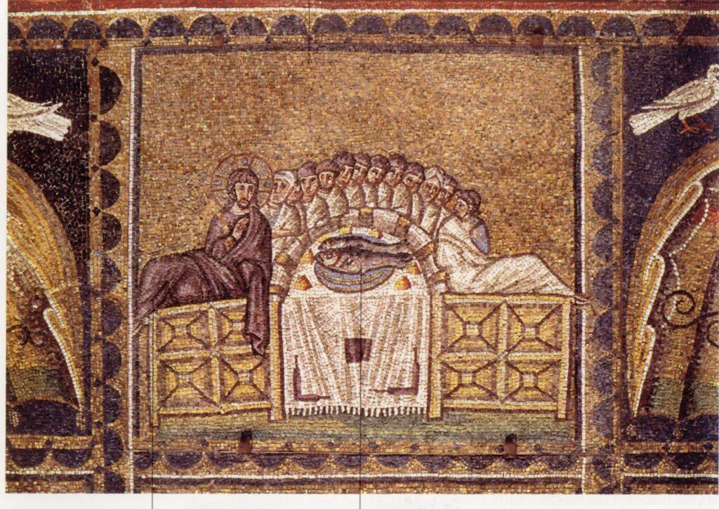 Mosaico degli inizi del VI secolo, Ravenna, Sant'Apollinare Nuovo E' considerata la più antica rappresentazione dell'Ultima Cena nell'arte occidentale. Da notare i due grossi pesci al centro del desco