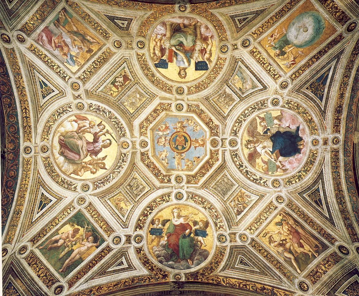 RAFFAELLO SANZIO, Volta della Stanza della Segnatura, 1508-1512, affresco, Città del Vaticano, Palazzi Vaticani