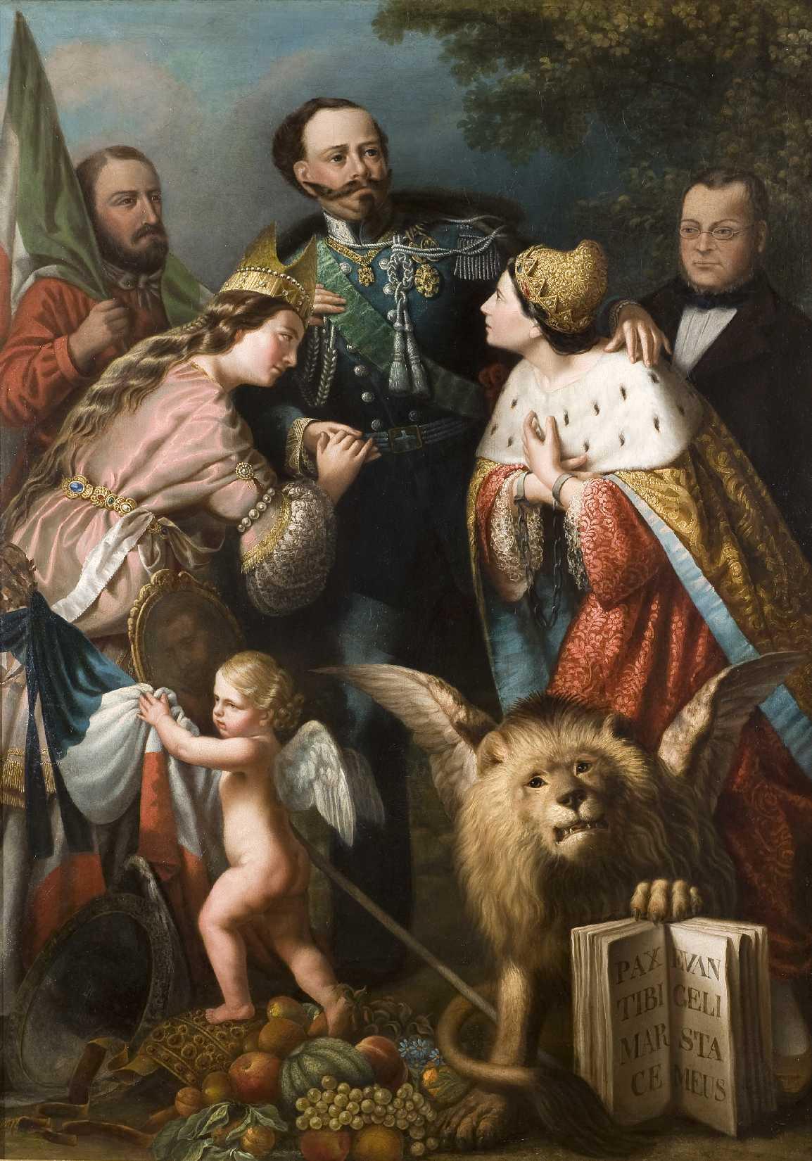 Giacomo Casa (Conegliano 1835- Roma 1887), Allegoria dell'Unità d'Italia, olio su tela, 168x117