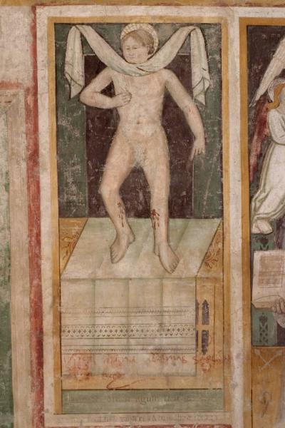 Anonimo lombardo, Simonino daTrento, affresco, fine secolo XV inizi XVI, Rovato (Bs), santuario della Madonna di Santo Stefano