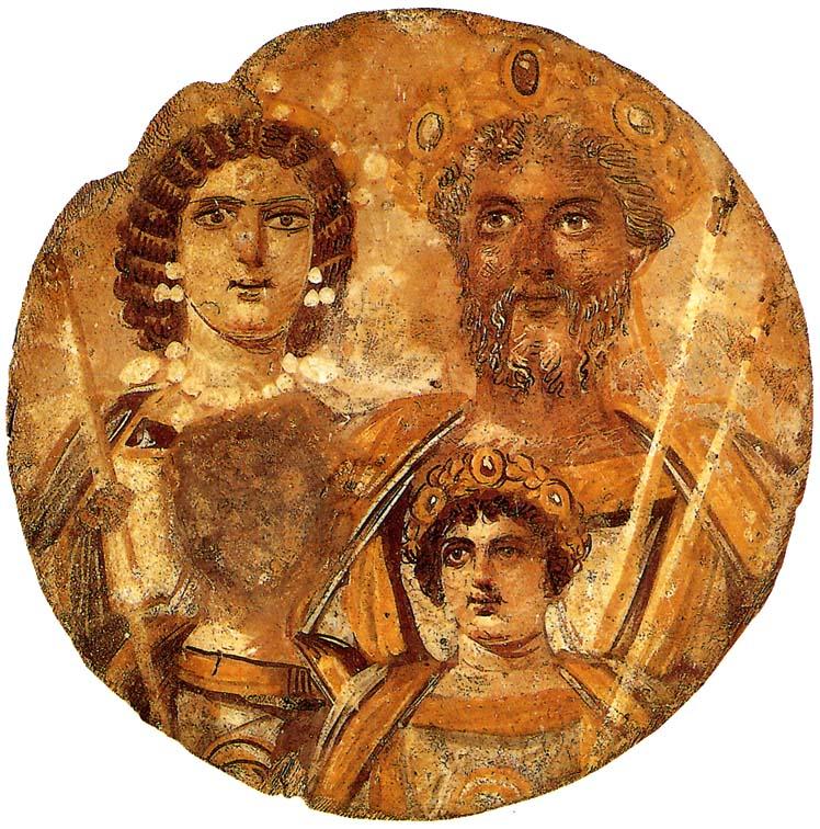 Tondo Severiniano, 200 d. C. circa, tempera su tavola, Berlino, Altes Museum. Il tondo rappresenta l'imperatore Settimio Severo, che apparteneva alla stessa etnia di Zeno o Zenone, con la famiglia. Il bambino è il futuro imperatore Caracalla, mentre è stato abraso il volto del fratello, che sarà ucciso dallo stesso Caracalla