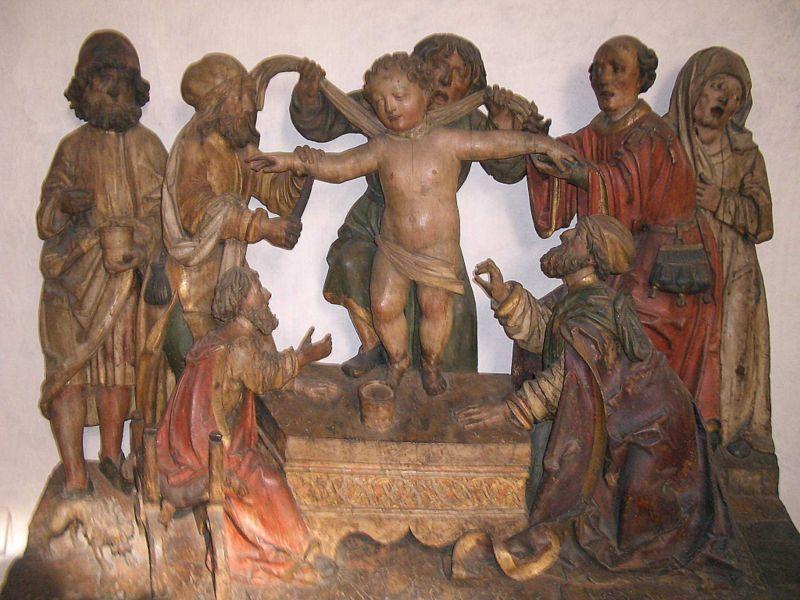 Bottega di Niklaus Weckmann, Martirio del Beato Simonino, 1505-1515 legno intagliato policrono, Museo diocesano tridentino, Trento