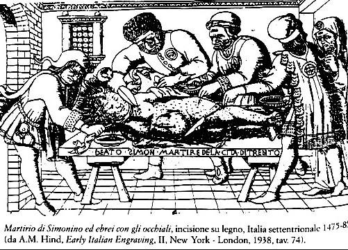 Una delle prime stampe dedicate all'omicidio di Simonino, realizzate tra il 1475 e il 1485, sull'onda emotiva dell'omicidio del bambino
