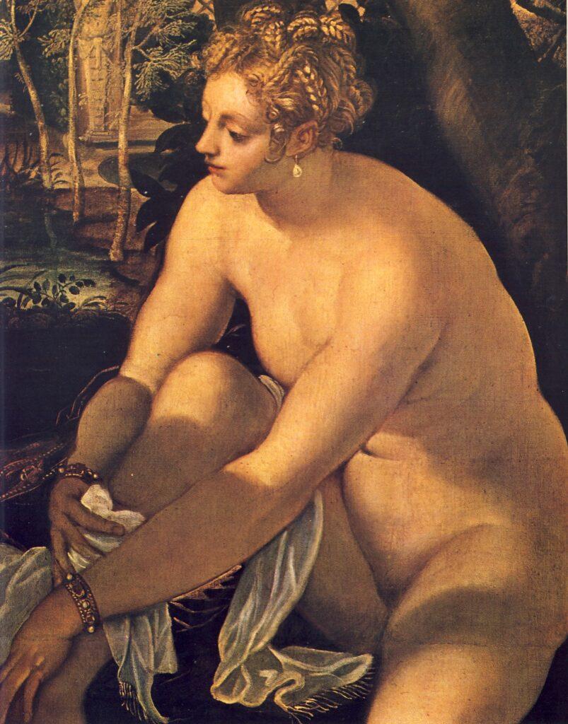 JACOPO ROBUSTI detto il TINTORETTO, Susanna e i vecchioni,(particolare), 1555, olio su tela, cm 146.6 x 193,6, Vienna, Kunsthistorisches Museum
