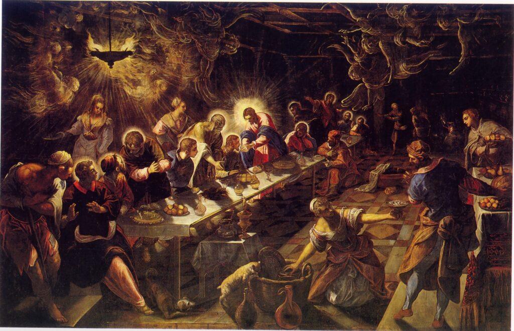 Tintoretto. Ecco far capolino a sorpresa, nella tela del maestro veneziano, addirittura una torta