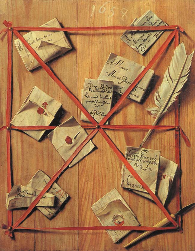 """Wallerant Vaillant, """"Tavola in legno con oggetti di scrittura"""""""